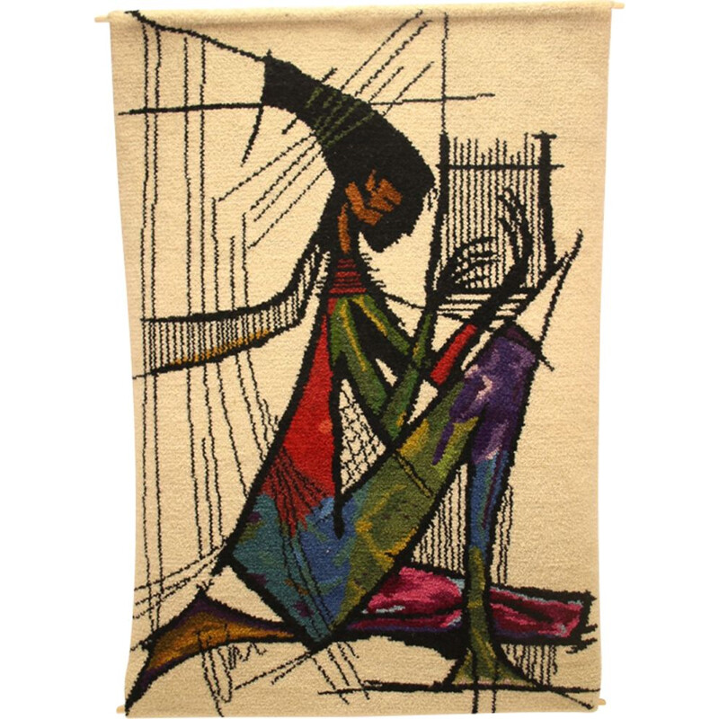 Large Vintage tapestry harp player 1970