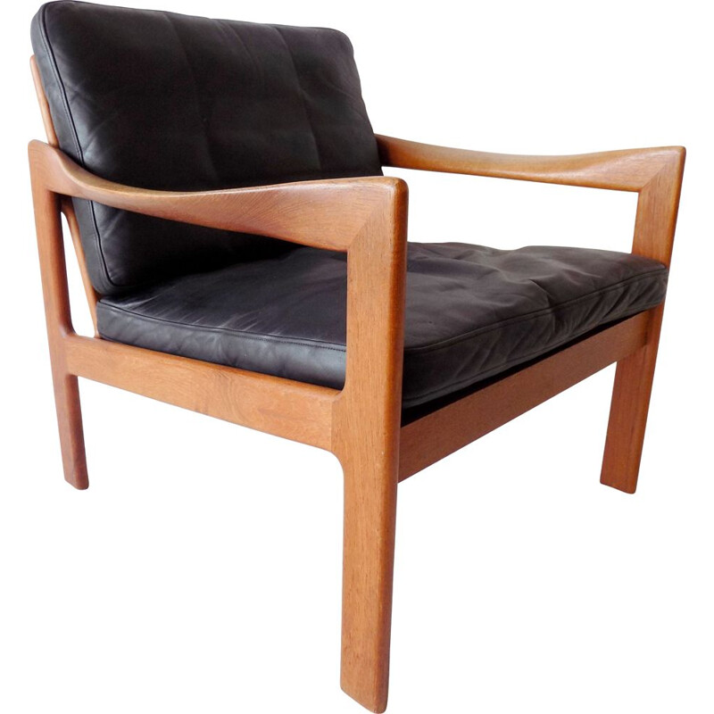 Vintage Teak chair in black leather N.Eilersen by Illum Wikkelso Danish  1960