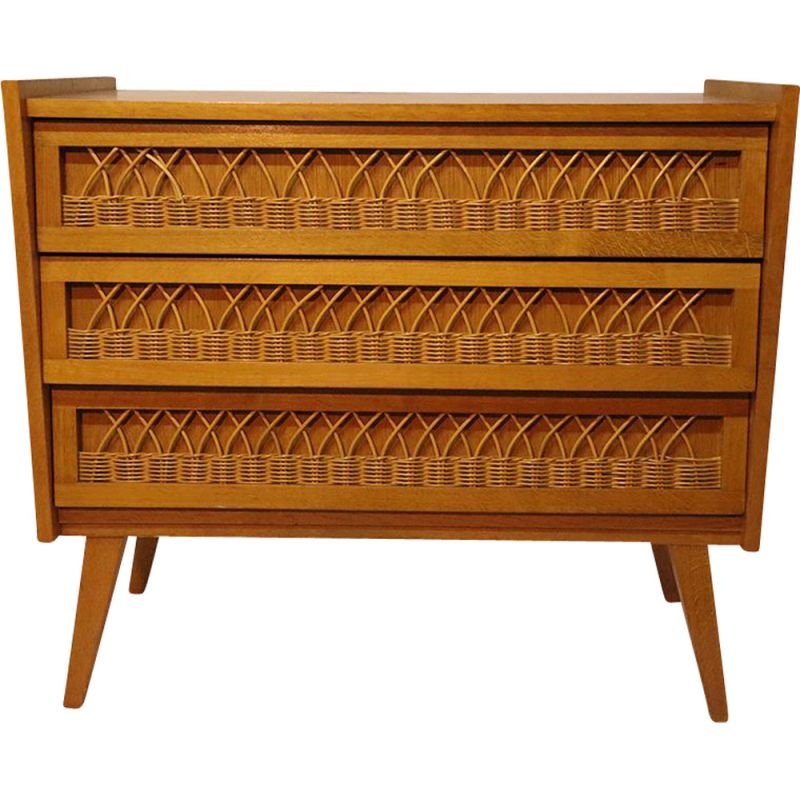 Vintage wooden and rattan chest of drawers 1960