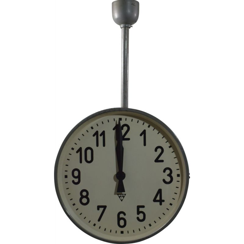 Vintage Grey industrial double-sided clock