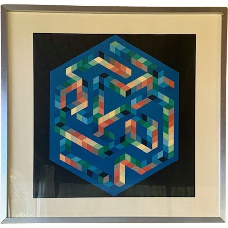 Vintage Op Impression of the art gallery 'BABEL - 3' Victor Vasarely 1971