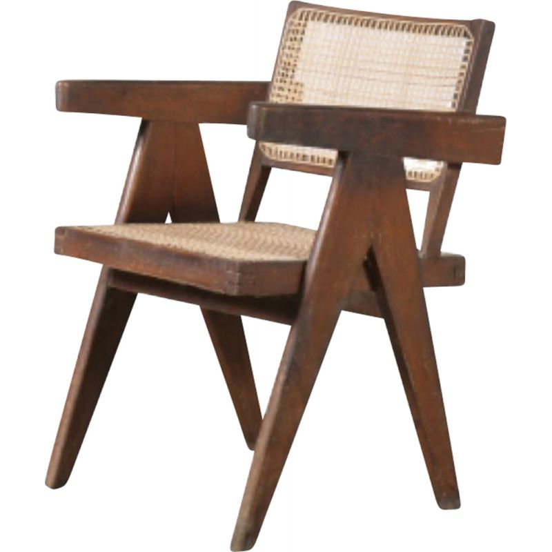 Vintage cane office chair for Chandigarh Pierre Jeanneret India 1950