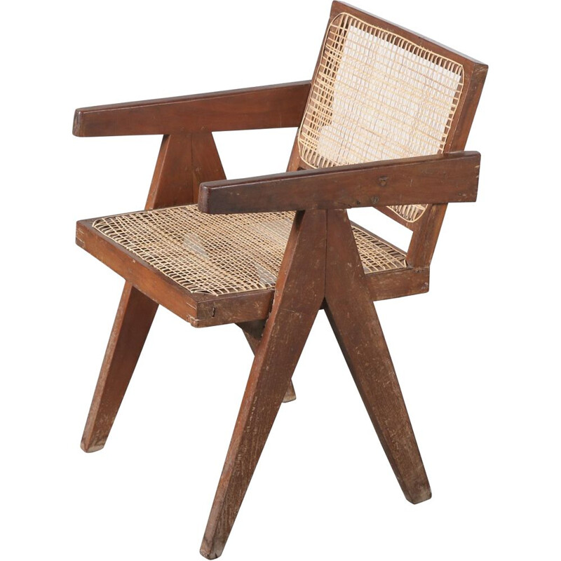 Vintage Armchair for Chandigarh,Pierre Jeanneret Cane India, 1950