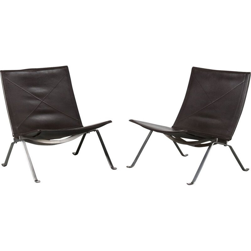 Pair of vintage PK22 Lounge Chairs by Poul Kjaerholm for Fritz Hansen, Denmark, 1960
