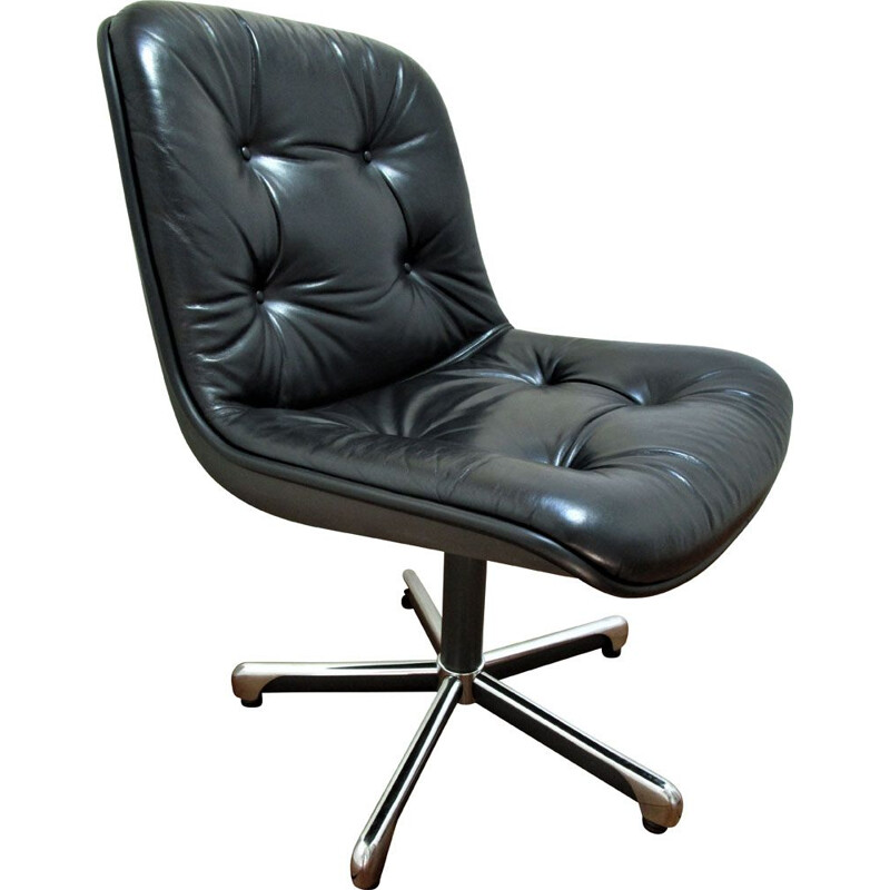 Vintage black leather office chair Comforto 1980