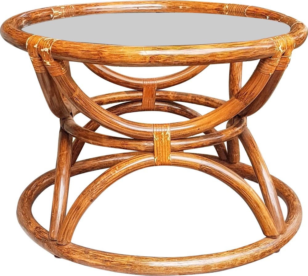 Vintage Round Natural Bamboo Coffee Table 1950 Design Market