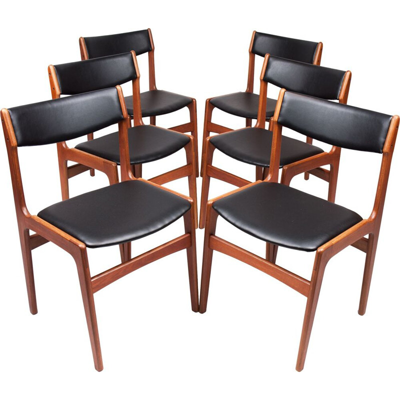 Set of 6  vintage dining chairs Teak by Erik Buch danish 1960s