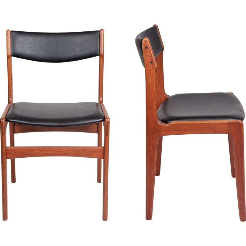 Pair of dining chairs by Erik Buch Teak danish 1960s