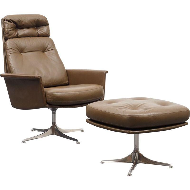 Vintage leather lounge chair with foot stool, COR, design Horst Brüninge dit Artikel 1960s