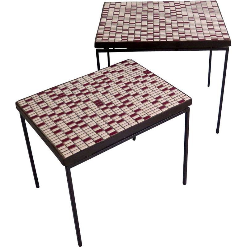 Pair of vintage mosaic top tables, 1950s