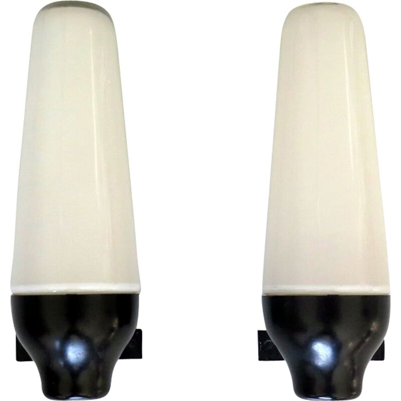Pair of vintage opaline and backelite wall lamps 1950