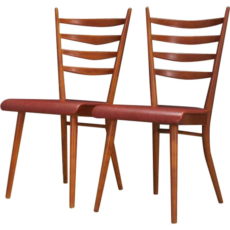 Vintage Pair of chairs Danish beech 1970s