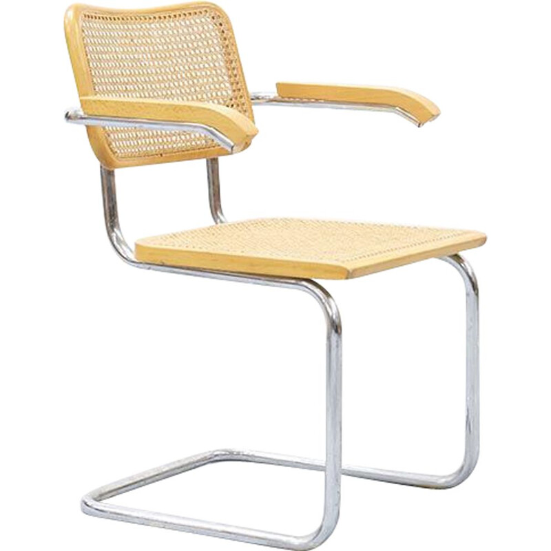 Vintage  caned armchair Cesca B64 by Marcel Breuer 1980