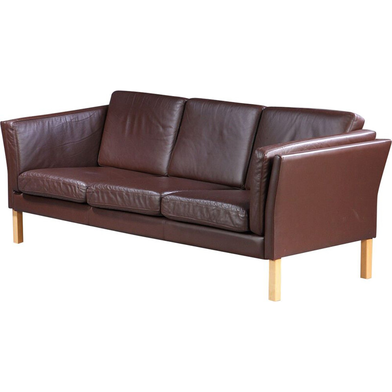Vintage brown leather sofa Danish 1970