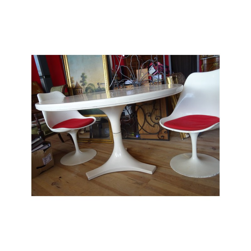 Kartell round table in fiber glass and metal Anna CASTELLI