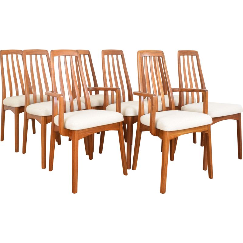 Set Of 8 Mid Century Teak Dining Chairs By Benny Linden 1970s Design Market