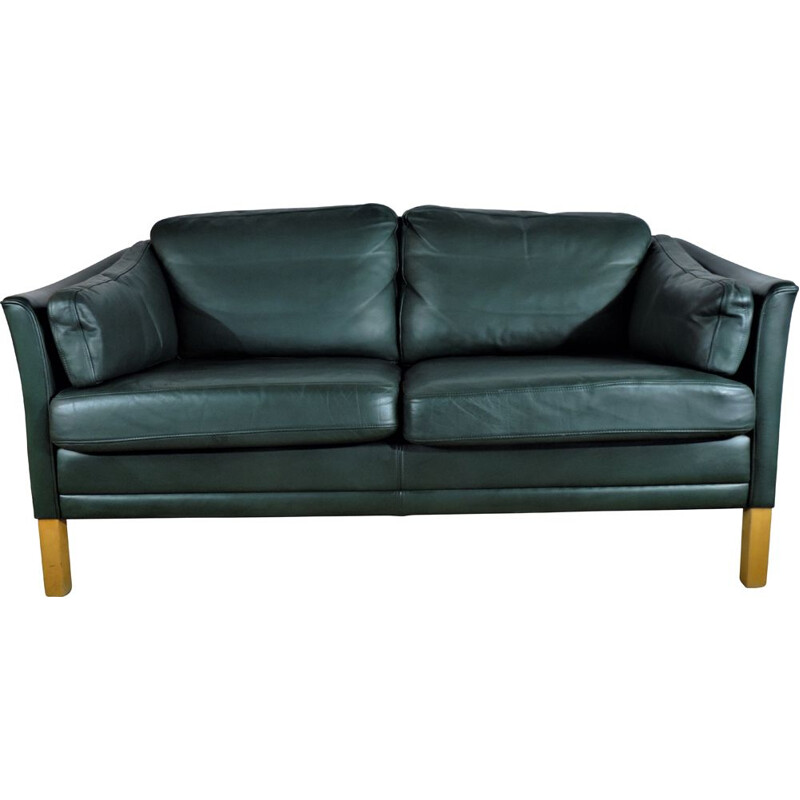 Vintage Mh Sofa In Green Leather By Mogens Hansen 1970