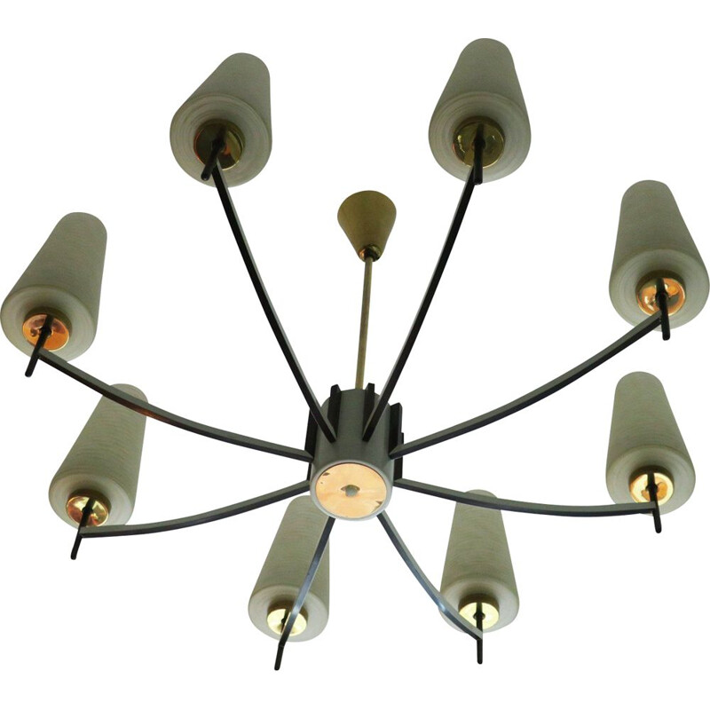 Mid-Century Brass and Art Glass Chandelier Italian 1970
