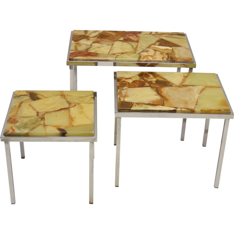 Vintage nesting tables mini set side tables amber Marble