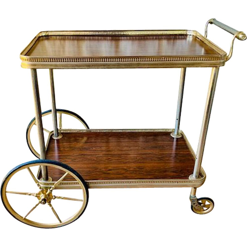 Vintage Gilded Brass And Formica Bar Cart  Trolley French  1960s