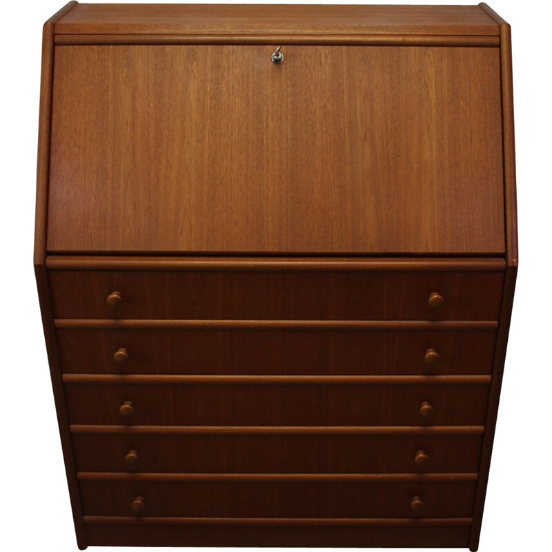 Vintage Secretaire Desk Teak with flap and 5 drawers 1960