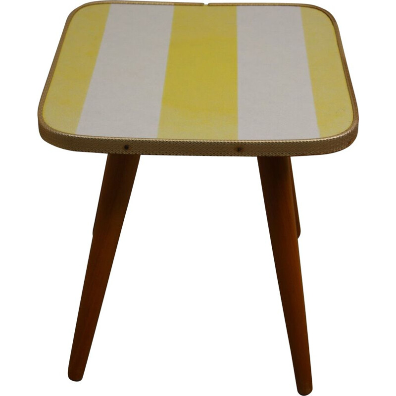 Vintage plant table  yellow & white striped 1960s