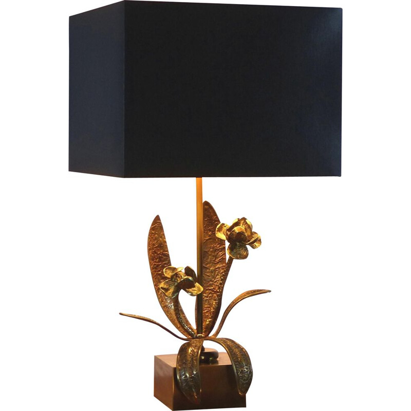 Vintage metal lamp and stylized flowers 1970