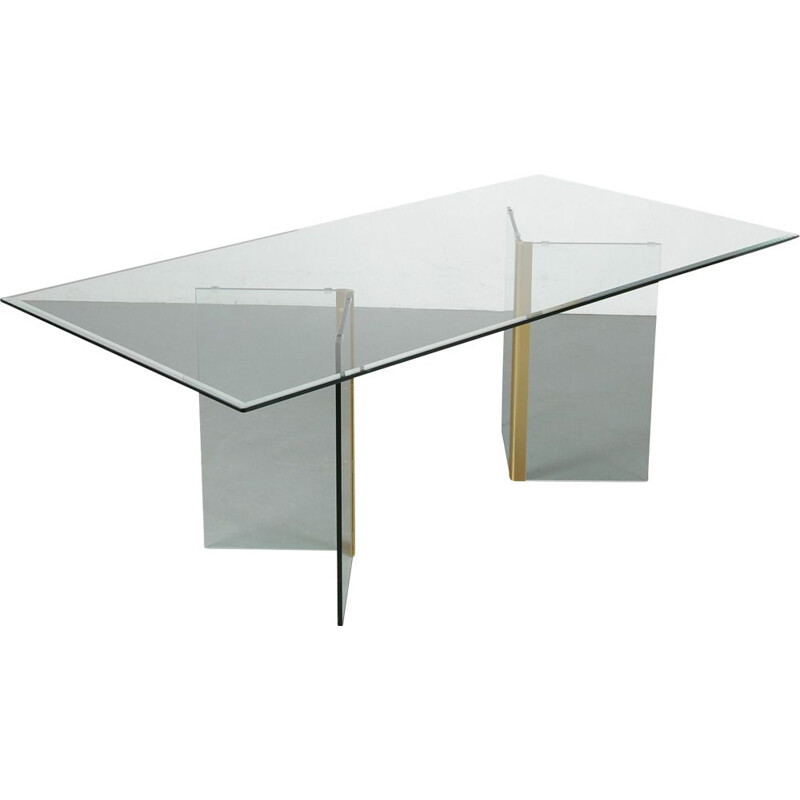Vintage Glass dining table by Gallotti & Radice, Italy 1970s