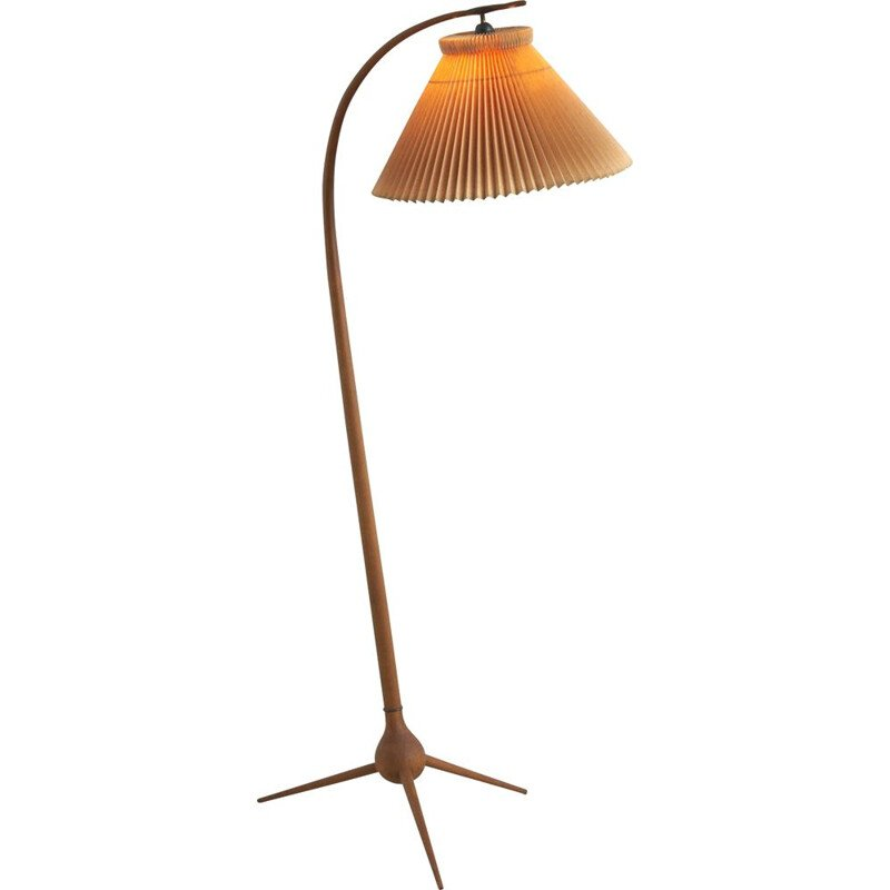 Vintage floor lamp in beech and brass from Severin Hansen, Denmark 1950