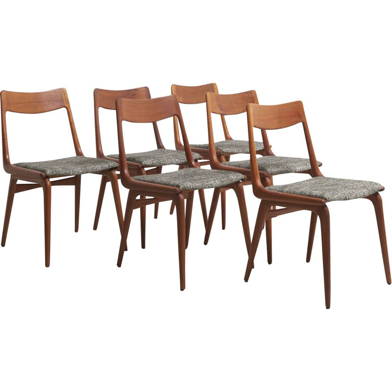 Set of 6 Vintage Boomerang Dining Chairs by Alfred Christensen, Denmark 1950s