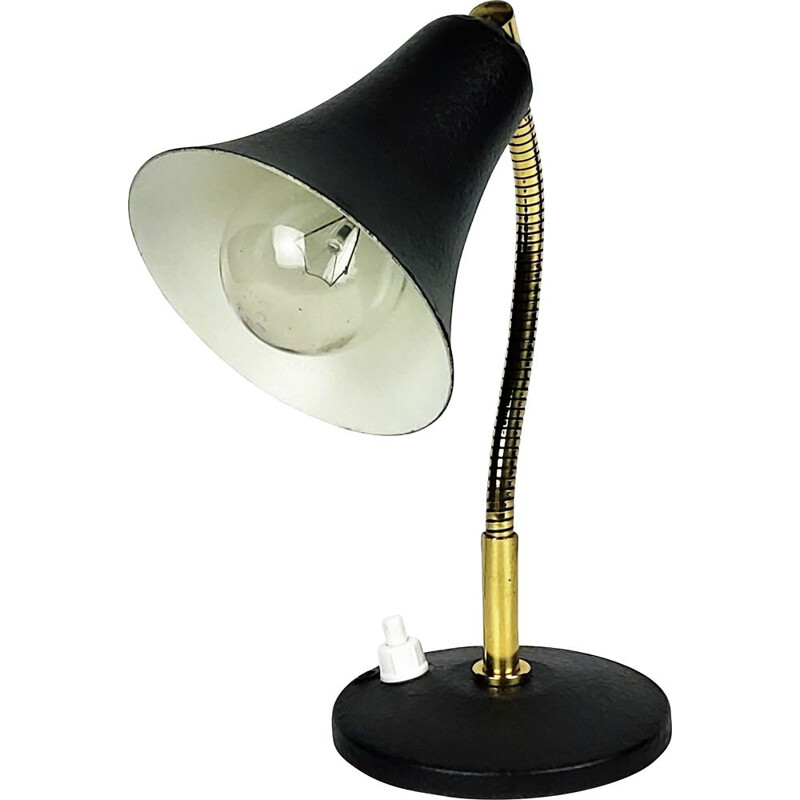 Vintage black and brass metal casserole dish wall lamp 1950s