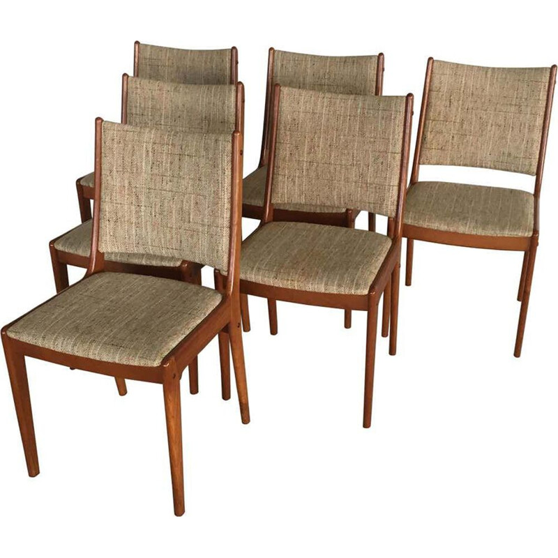 Set of 6 vintage Teak Dining Chairs Johannes Andersen 1960s