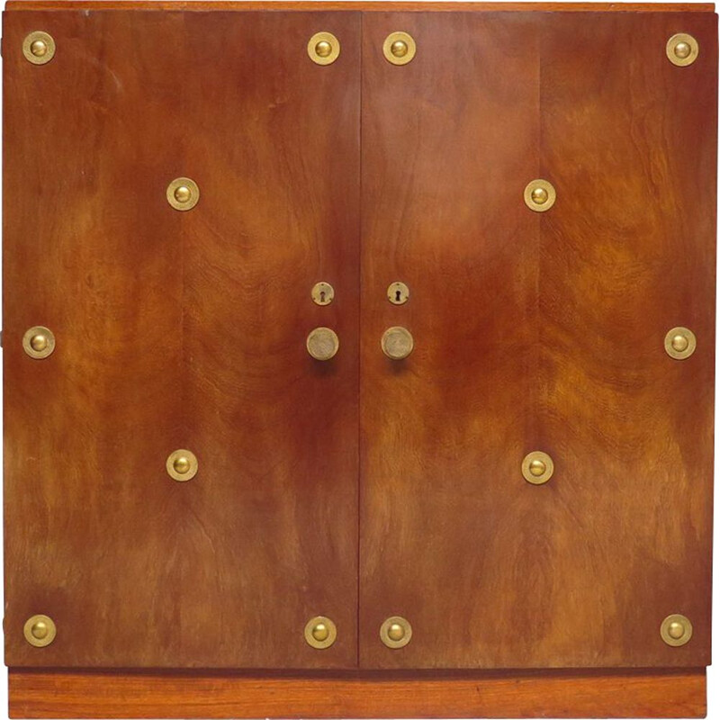 Vintage Art Deco Wardrobe with Brass Handles, 1940s