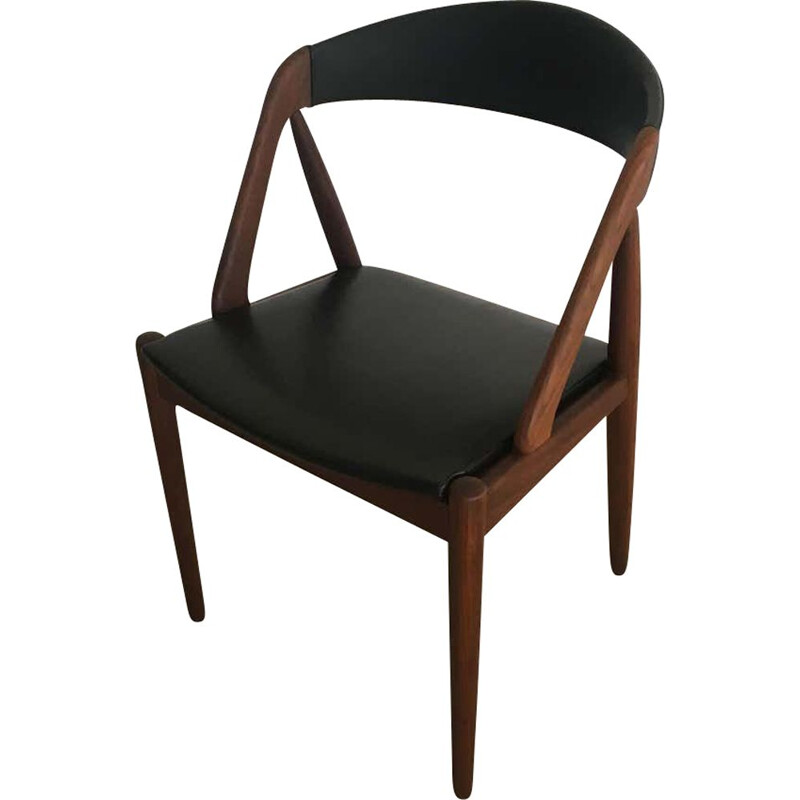 Vintage Dining chairs in Teak and Black Leatherette Kai Kristiansen 1960s