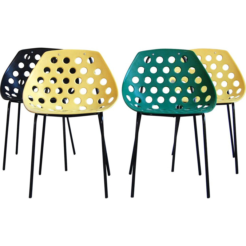 Lot of 4 vintage chairs Coquillage by Pierre Guariche for Meurop
