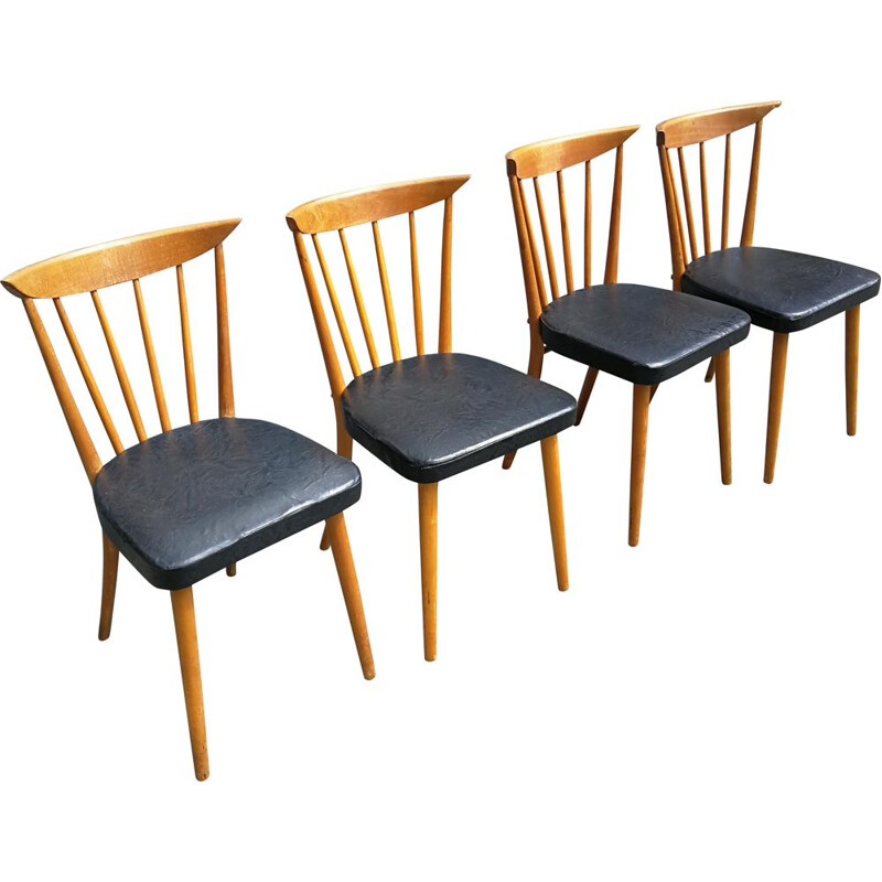 Set of 4 vintage chairs with bars 1950