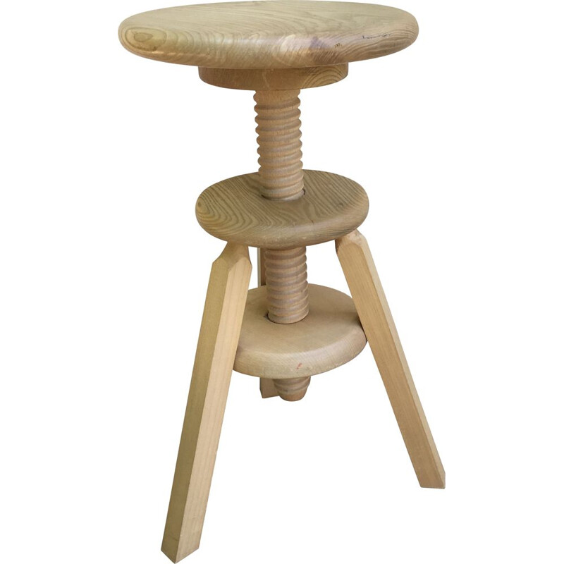 Vintage high adjustable stool Wood 1990