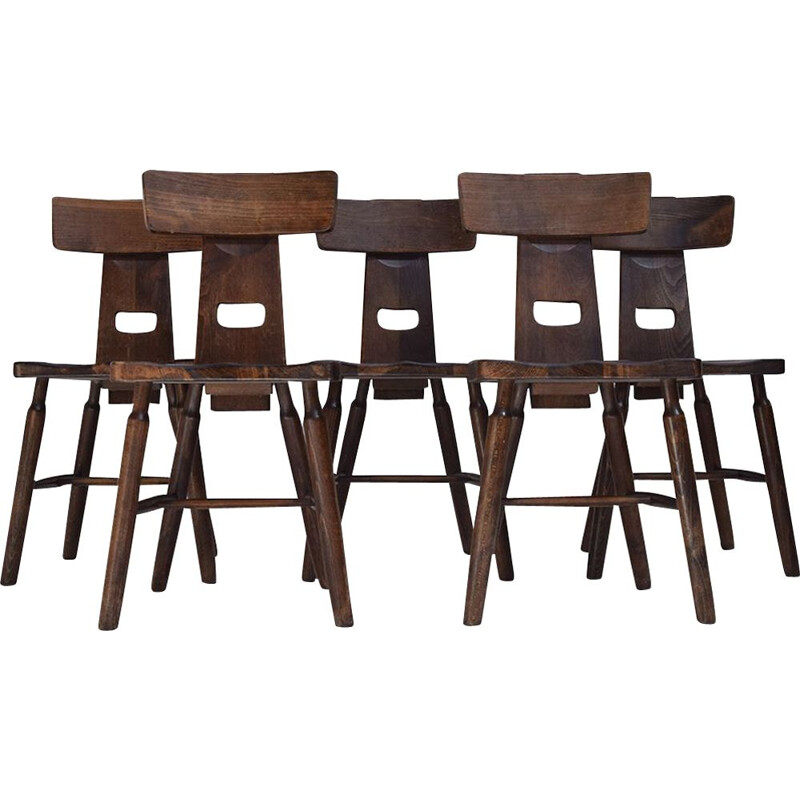 Set of 5 vintage Dark oak Brutalist dining  chairs 1970s