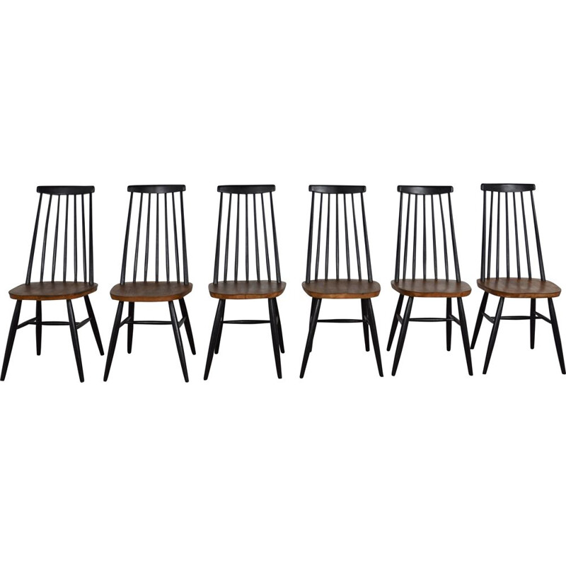 Set of 6 vintage swedish side back chairs 1960