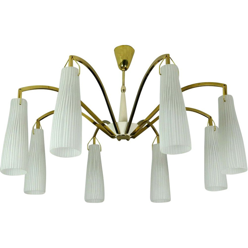 Vintage large mid century hanging lamp brass 8 glass shades stilnovo style 1950s