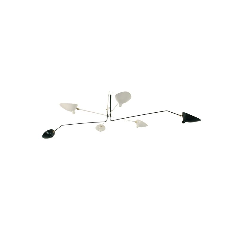 """Hanging lamp with 6 swiveling arms """"Black & White"""" by SERGE MOUILLE"""