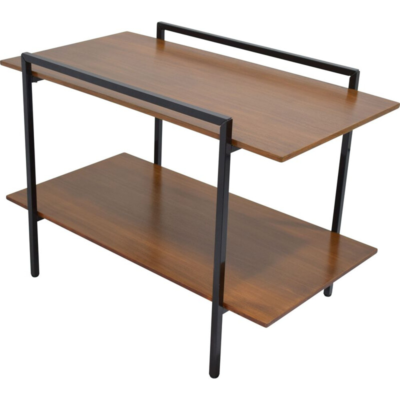 Vintage  sideboard or side table teak and black lacquered metal 1950s