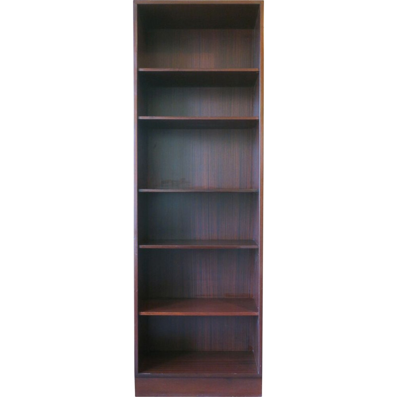 Vintage Wooden Narrow Bookcase by Poul Hundevad, Danish 1970