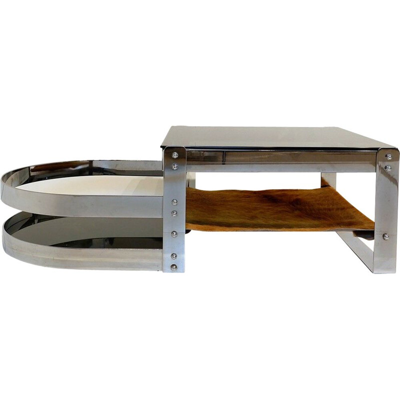 Vintage Coffee Table Steel, Glass And Cowhide 1970