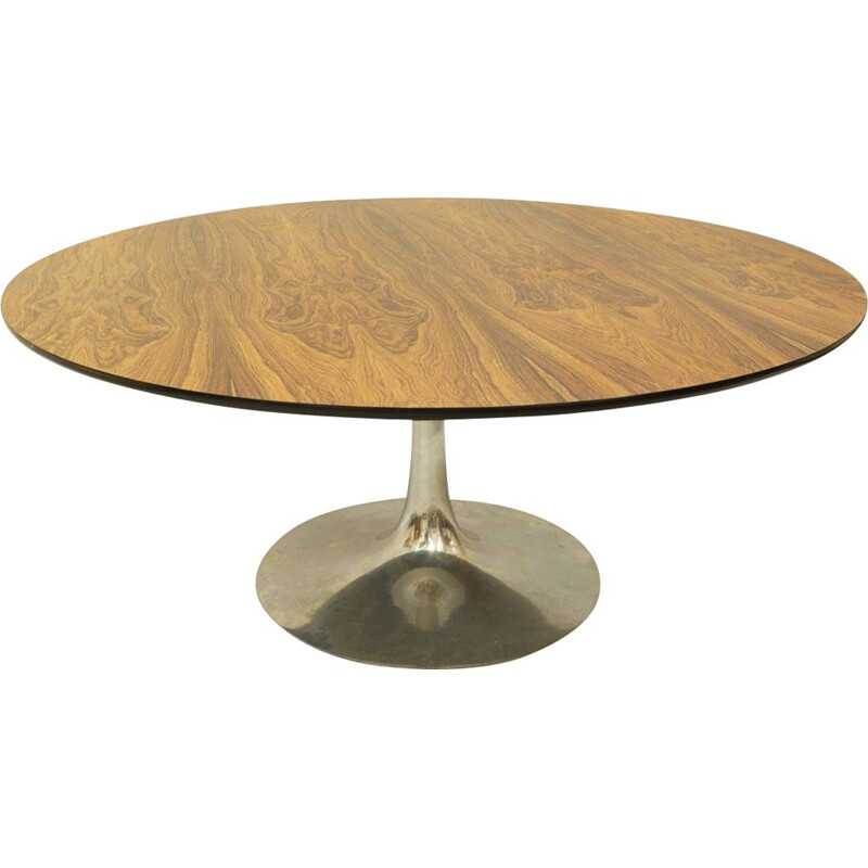 Vintage Arkana Round Rosewood Round Coffee Table With Cast Aluminum Tulip Base