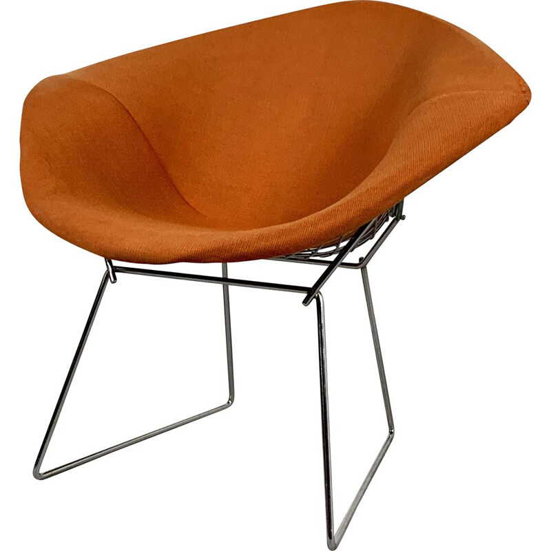 Vintage Orange Diamond Chair by Harry Bertoia for Knoll, 1970s