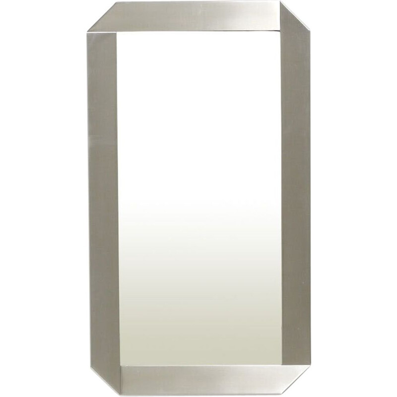 Vintage Mirror in Stainless Steel, Italy - 1970s