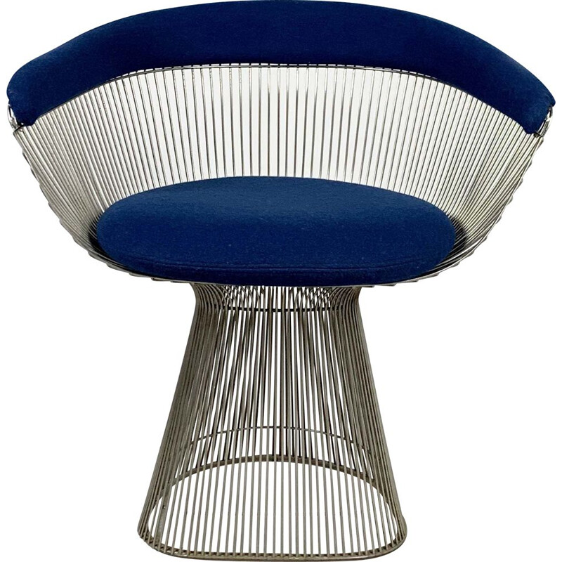 Vintage blue armchair by Warren Platner for Knoll, 1960s