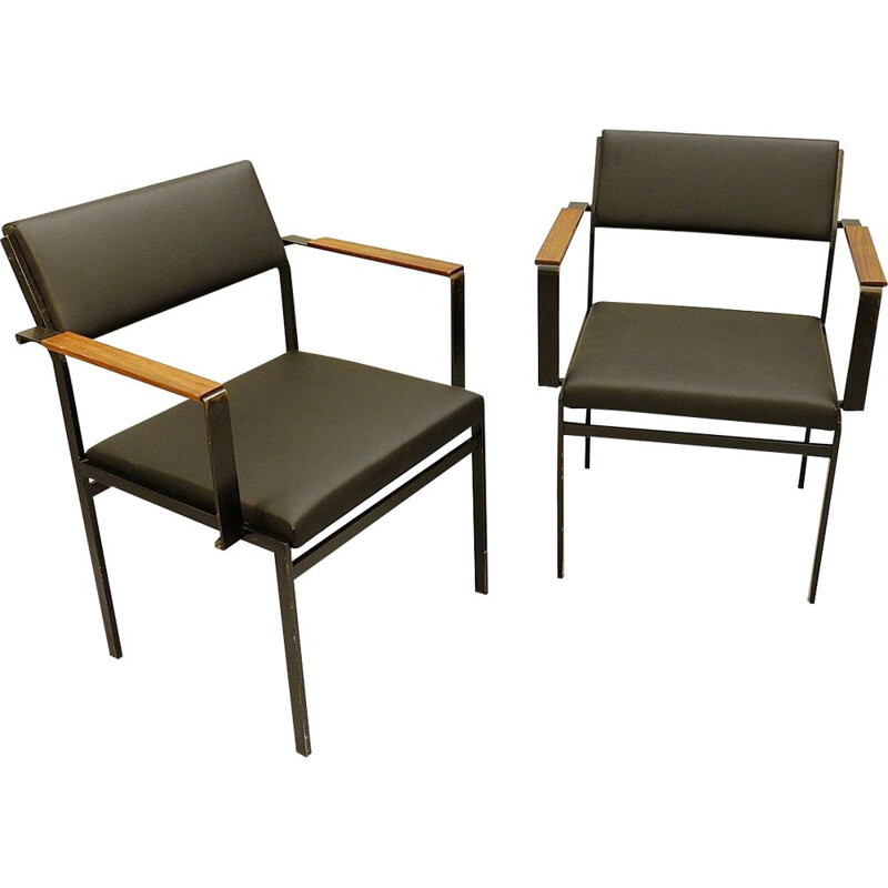 Pair of Vintage Chair FM17 Japanese faux leather by Cees Braakman for Pastoe, 1950