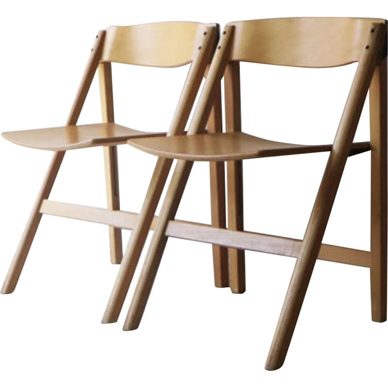 Set of Vintage Danish folding chairs by Holstebro Møbelfabrik 1970s